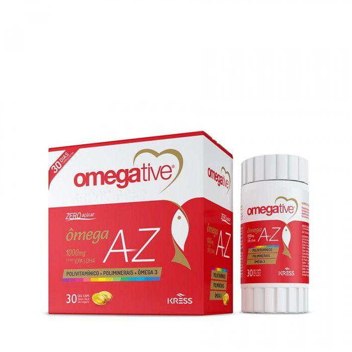 Omegative A/Z - c/60 Cápsulas - Zero Açúcar - Ômega + Vitaminas A a Z