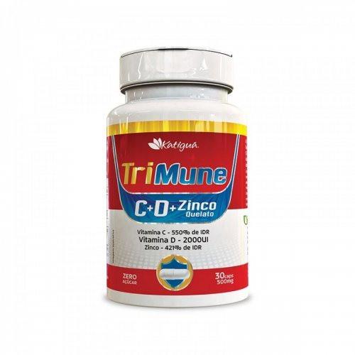 TriMune Vitamina C + D + Zinco Quelato c/ 30 Cápsulas - Zero Açúcar