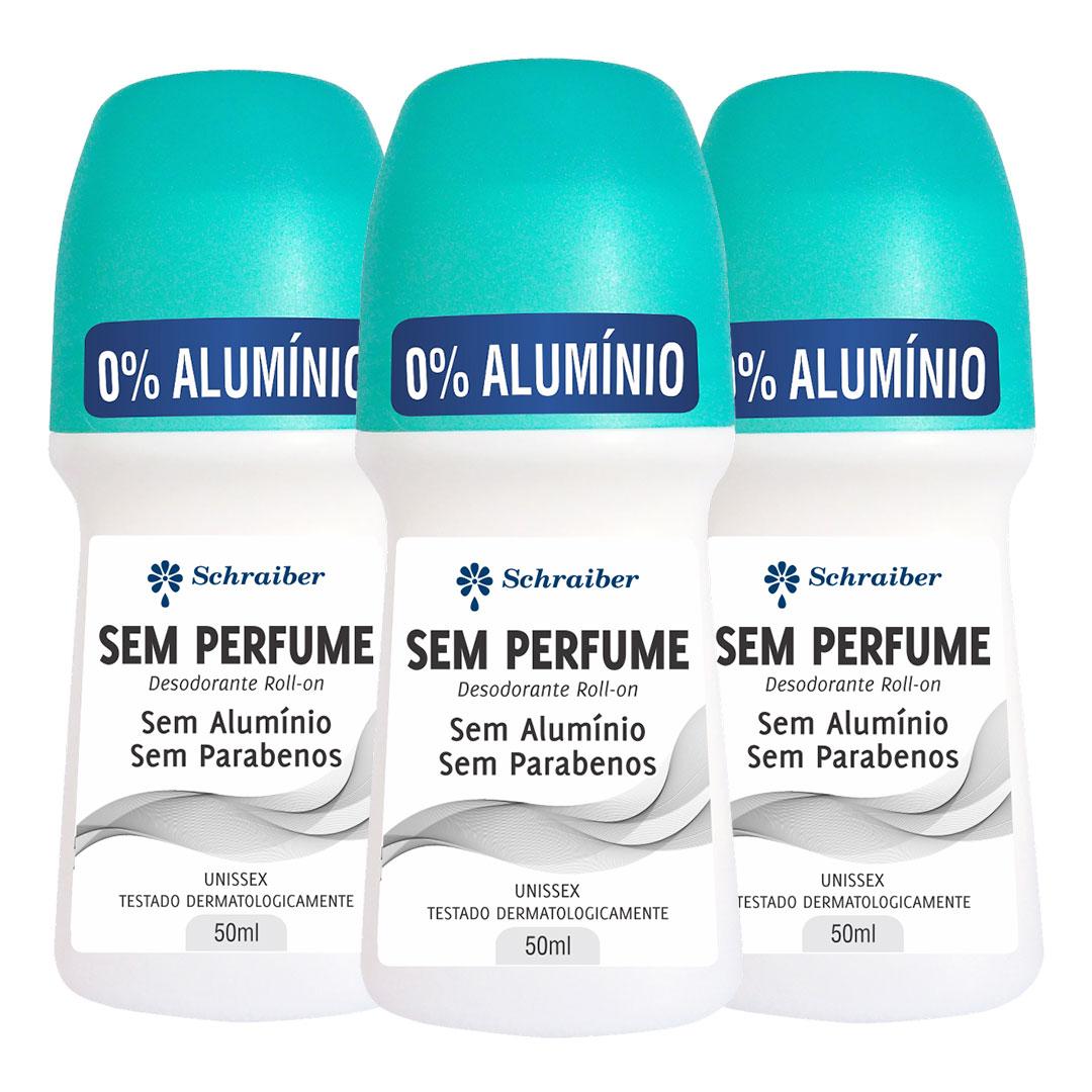 Desodorante Sem Alumínio e Sem Parabenos - Sem Perfume - Kit com 3 unidades