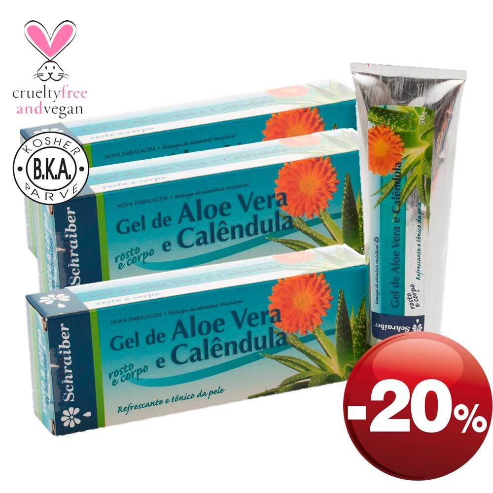 Gel Corporal e Facial de Aloe Vera e Calêndula - Pacote com 3