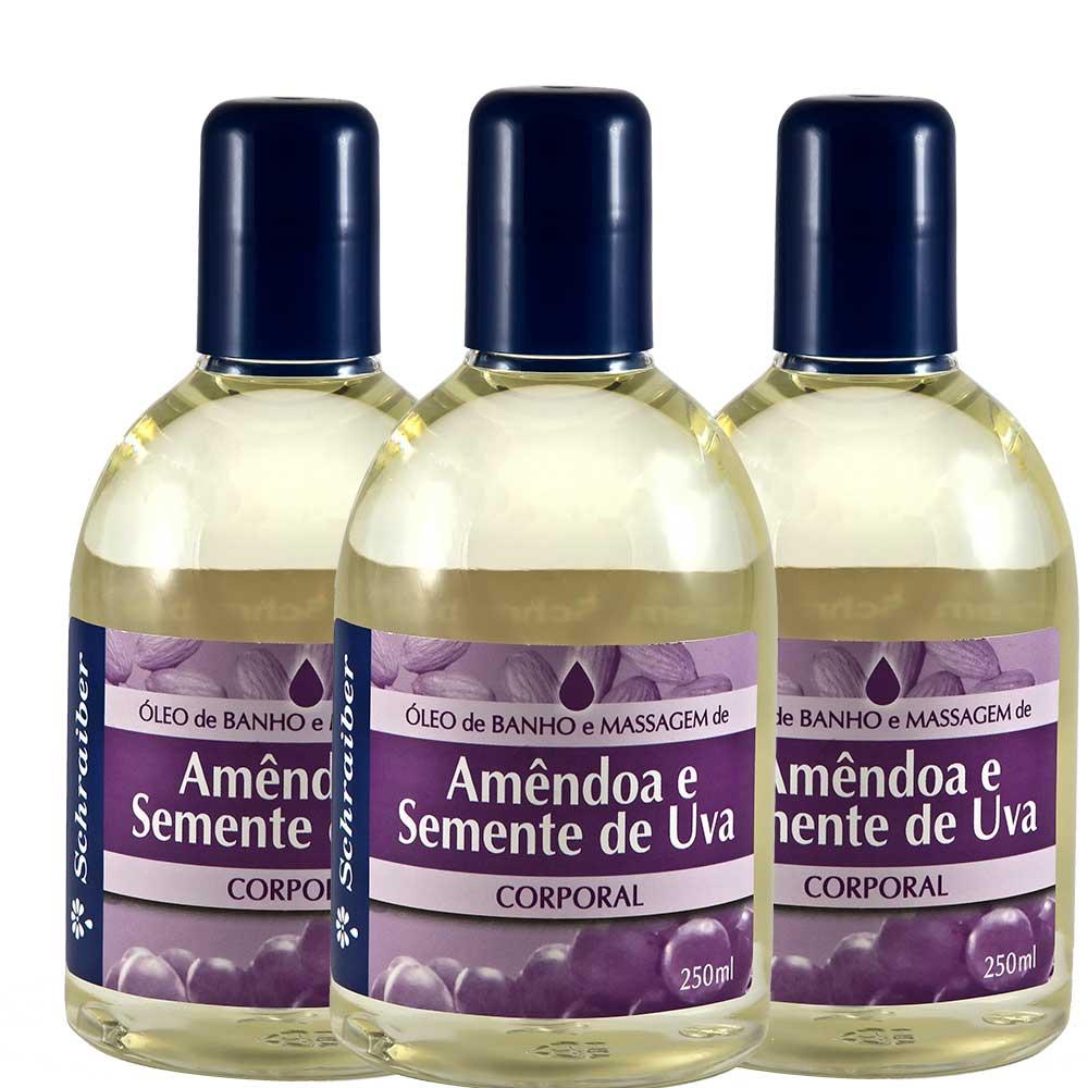 Óleo de banho e massagem Amêndoas e Semente de Uva - Pacote com 3