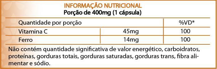 Suplemento Ferro quelato e vitamina C