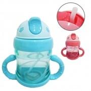 Copo Infantil Baby Com Alça Tampa e Canudo de Silicone - 200 ml