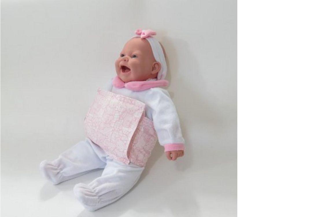 Almofada Térmica de Ervas Bebê sem Cólica - Urso  Rosa com Cinta