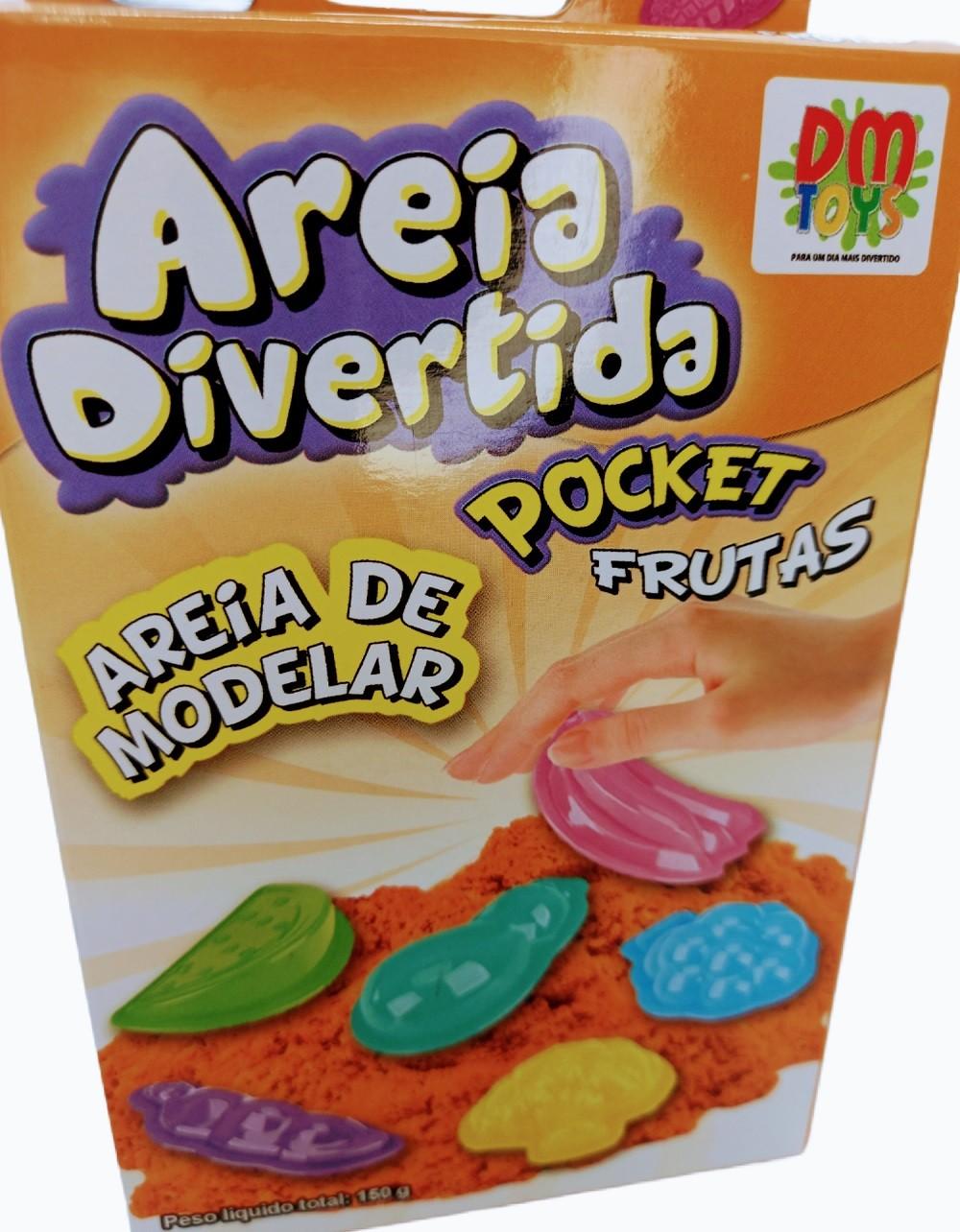 Areia de Modelar / Areia Divertida Pocket Frutas Animais 02 Unidades - DM Toys