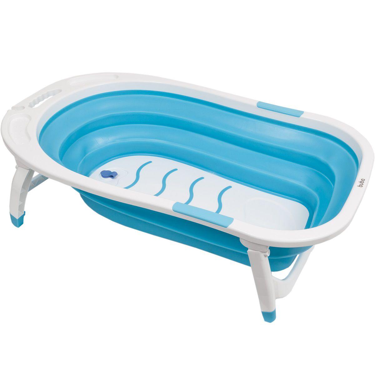 Banheira Baby Portátil Dobrável Flexível Azul - Buba Baby