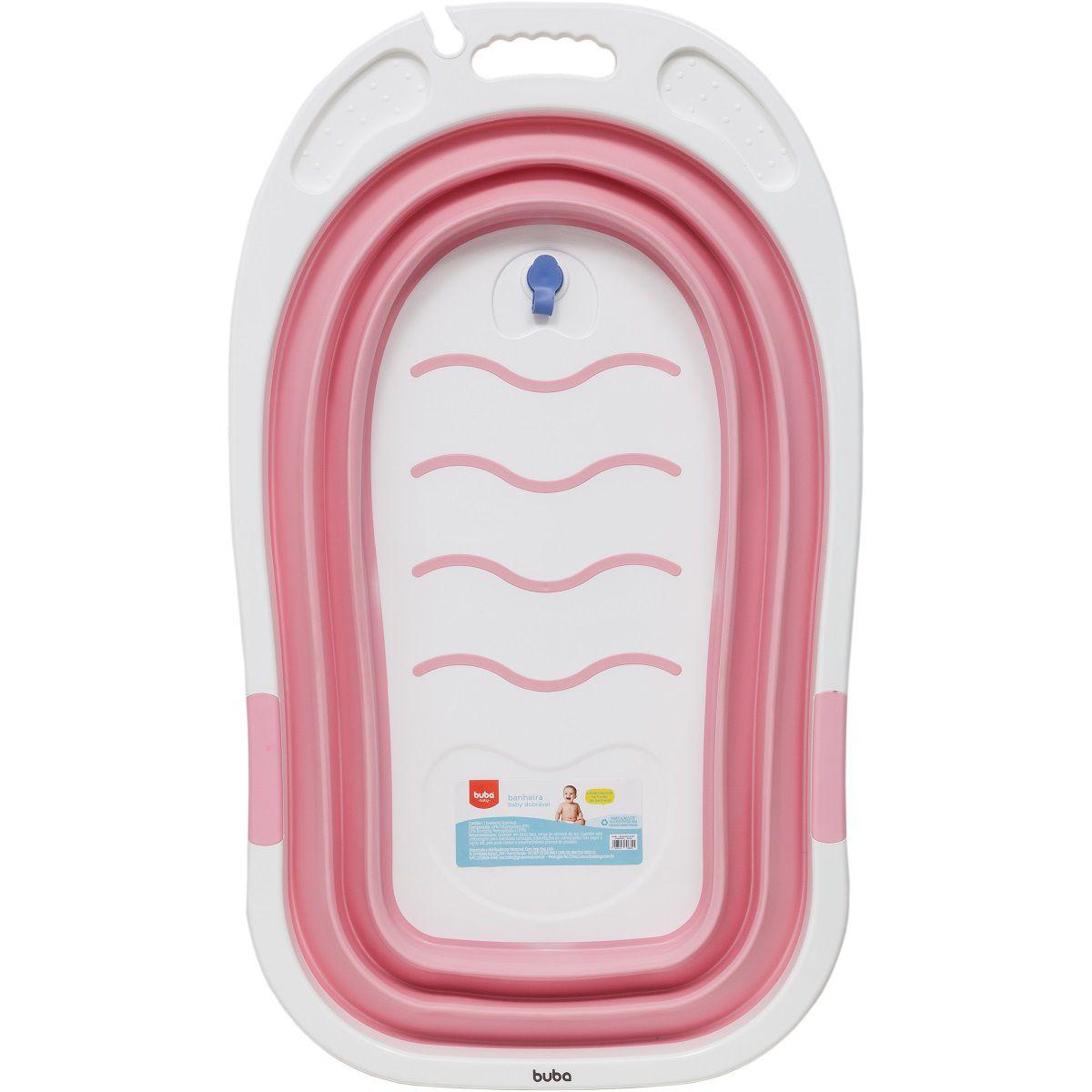 Banheira Baby Portátil Dobrável Flexível Rosa - Buba Baby