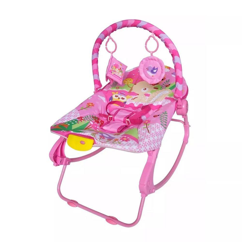 Cadeira de Descanso New Rocker Vibratória Musical - Rosa