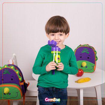 Copo Infantil com Canudo Antivazamento Dinossauro - Comtac