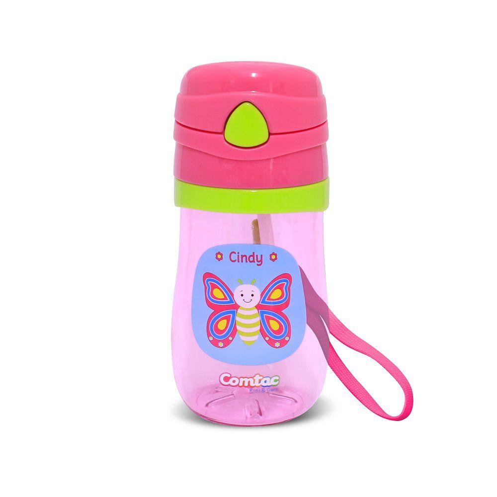 Copo Infantil com Canudo Antivazamento Borboleta - Comtac