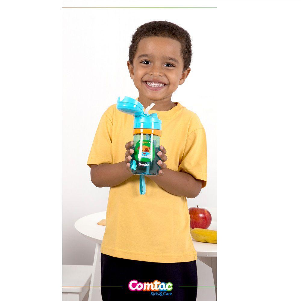 Copo Infantil com Canudo Antivazamento Cachorro - Comtac