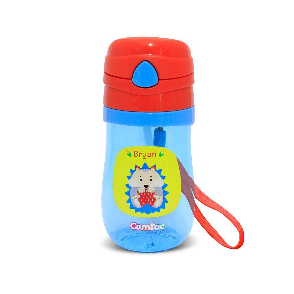 Copo Infantil com Canudo Antivazamento Porco Espinho - Comtac