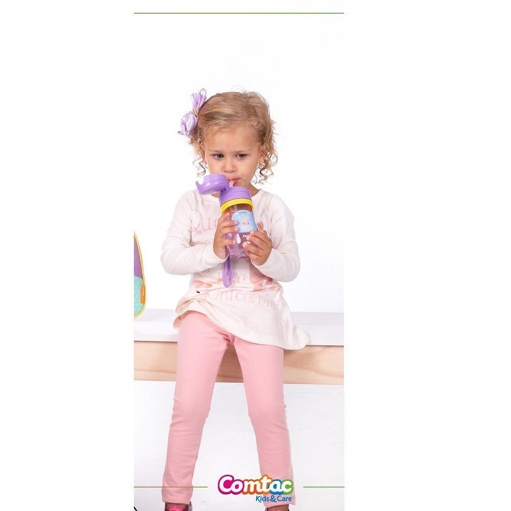 Copo Infantil com Canudo Antivazamento Unicórnio - Comtac