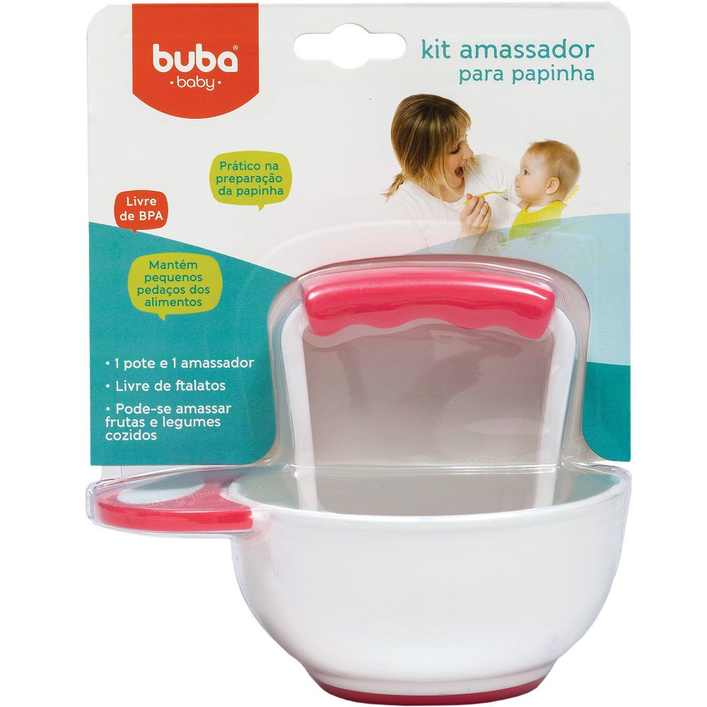 Kit Amassador Papinha e Pote Térmico Inox Combo Especial - Buba Baby