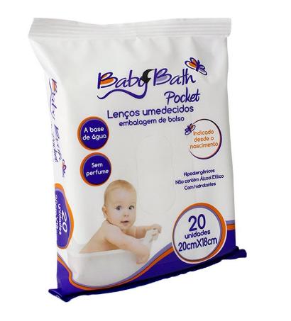 Kit Com 03 Pacotes de Lenços Umedecidos de Bolso Baby Bath (60 Unidades)