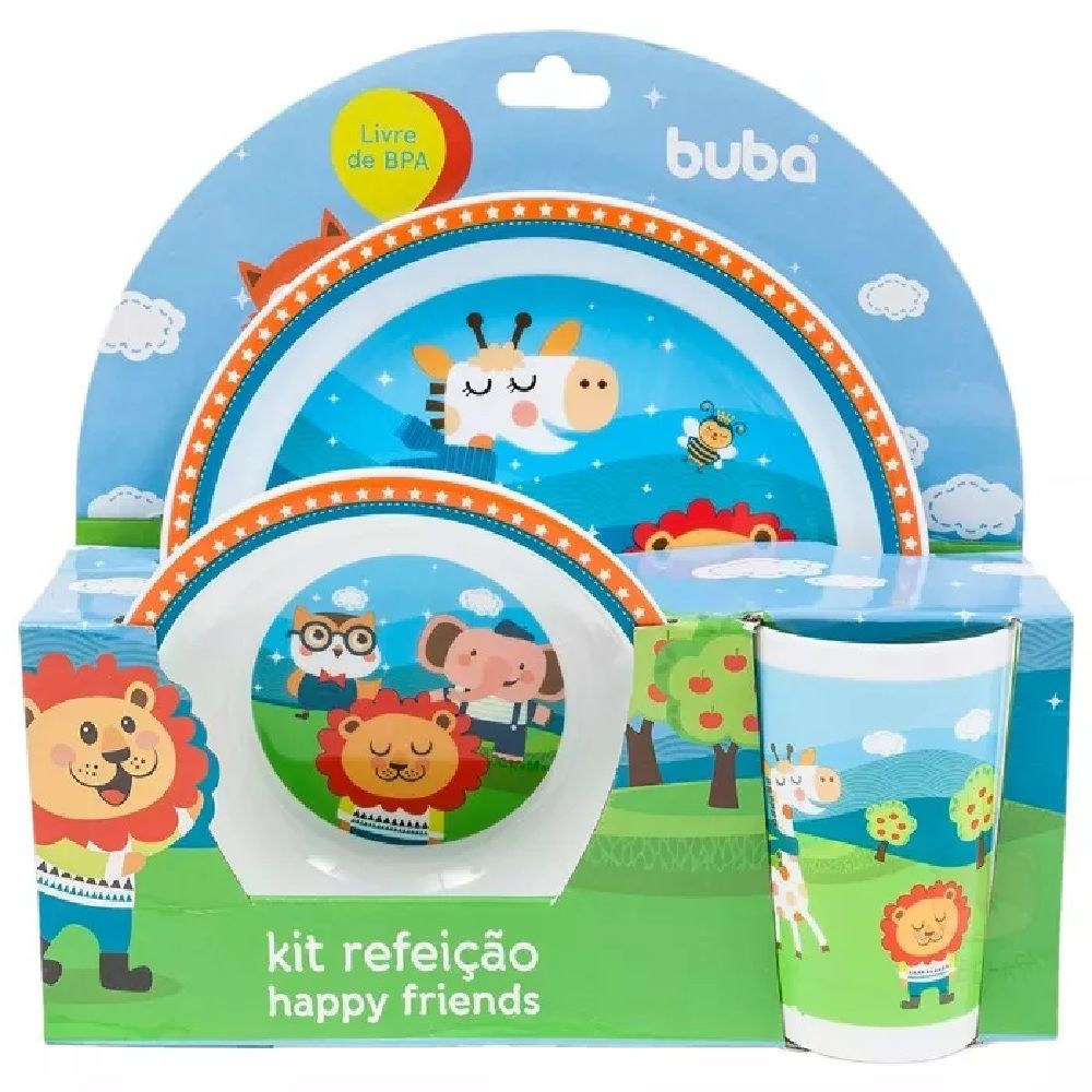 Kit Refeição Infantil Happy Friends - Buba Baby