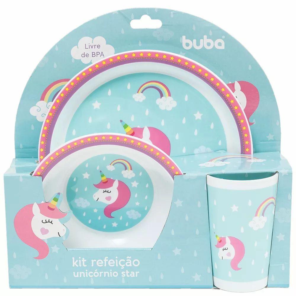 Kit Refeição Infantil Unicórnio Star - Buba Baby