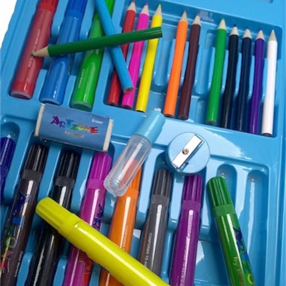 Maleta de Arte Infantil Escolar 68 Peças Azul - Regal