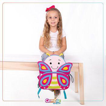 Mochila Infantil Animais Borboleta Linha Let's Go - Comtac Kids