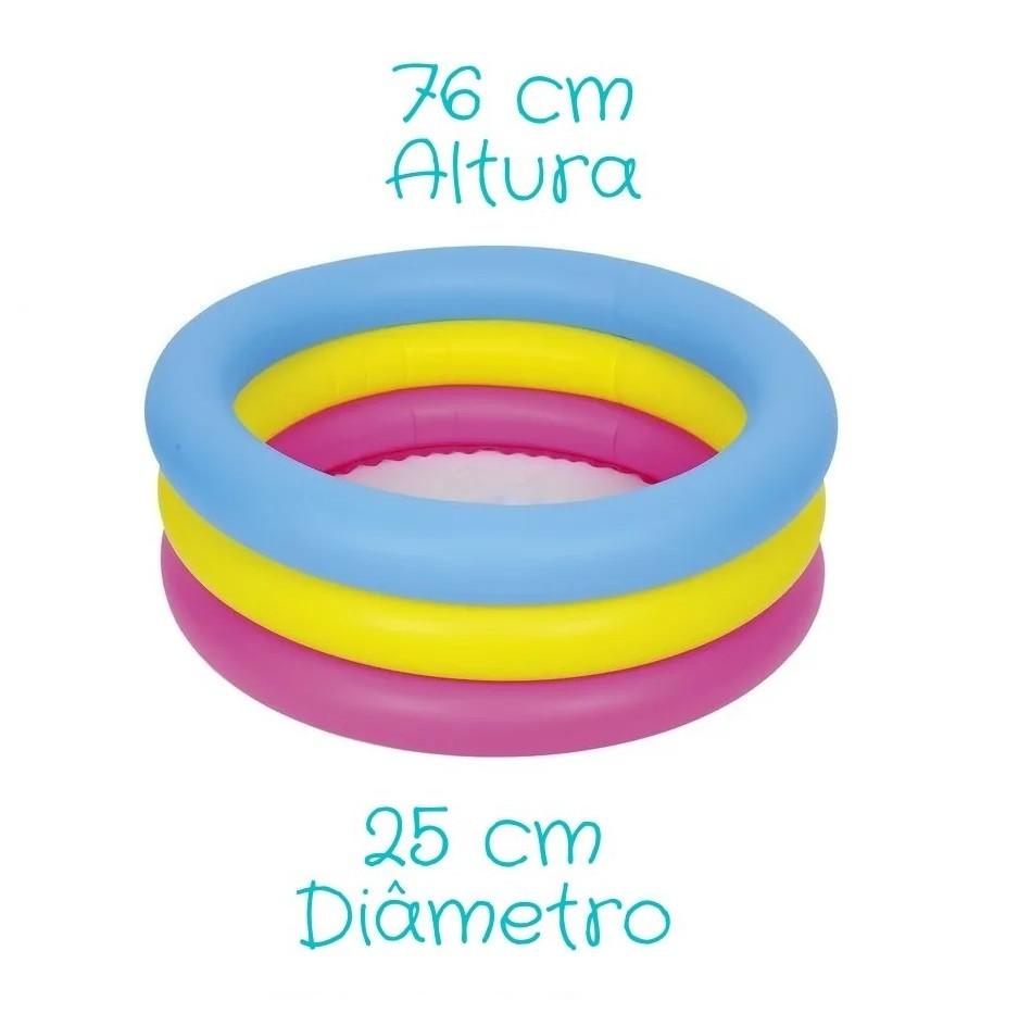 Piscina Infantil 3 Anéis 88 Litros Inflável - Weelmix
