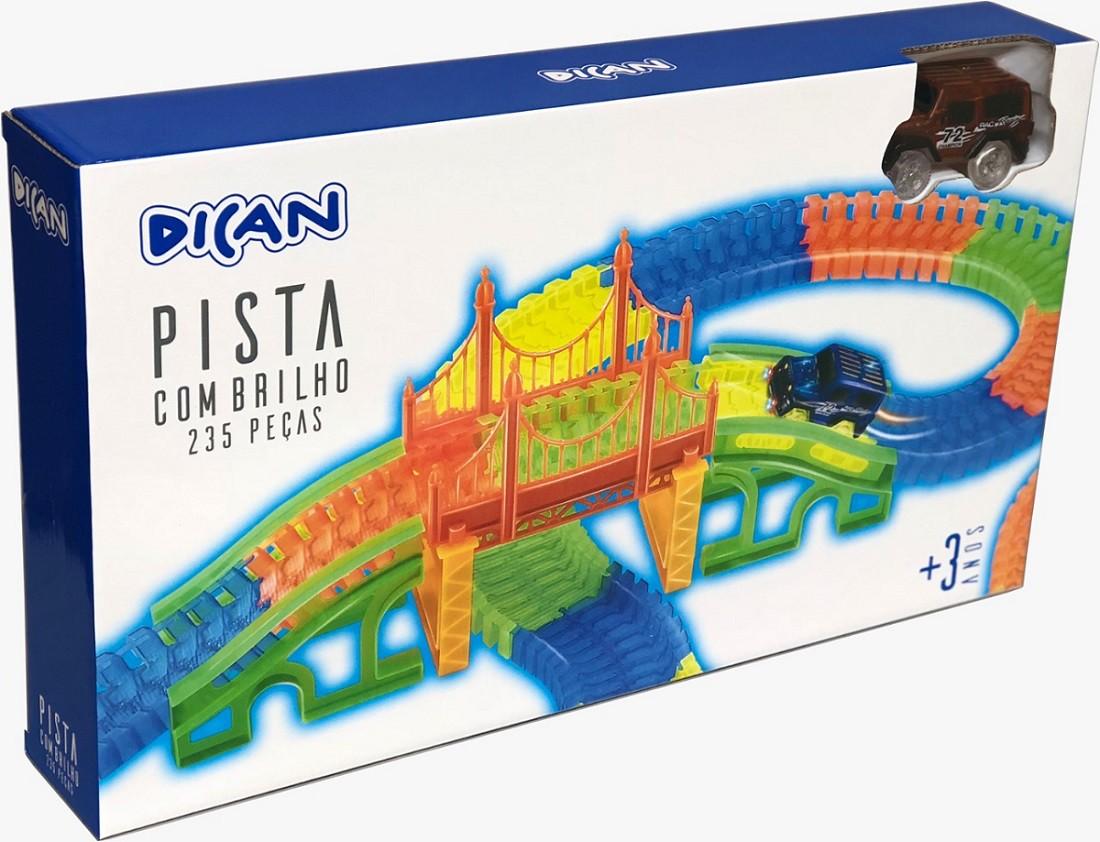 Pista Com Brilho e Ponte 235 Peças - Dican