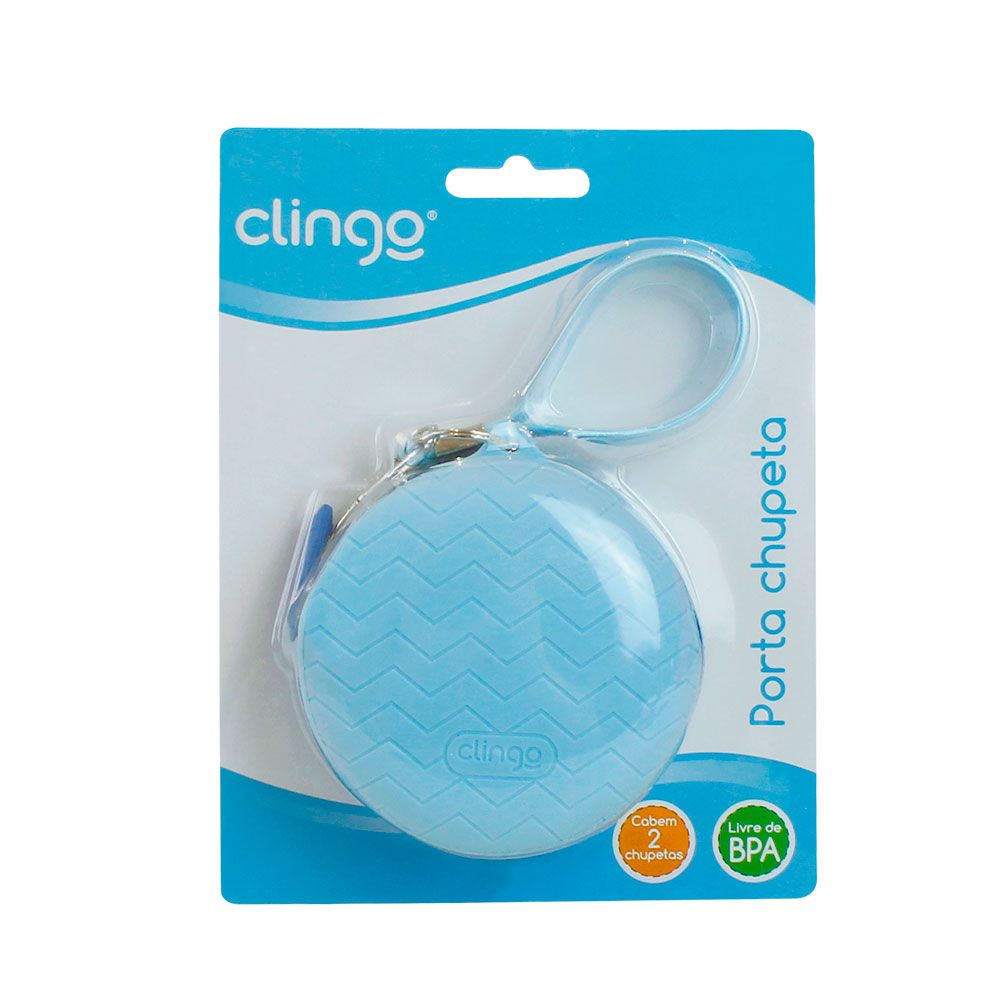Porta Chupeta Silicone Azul - Clingo