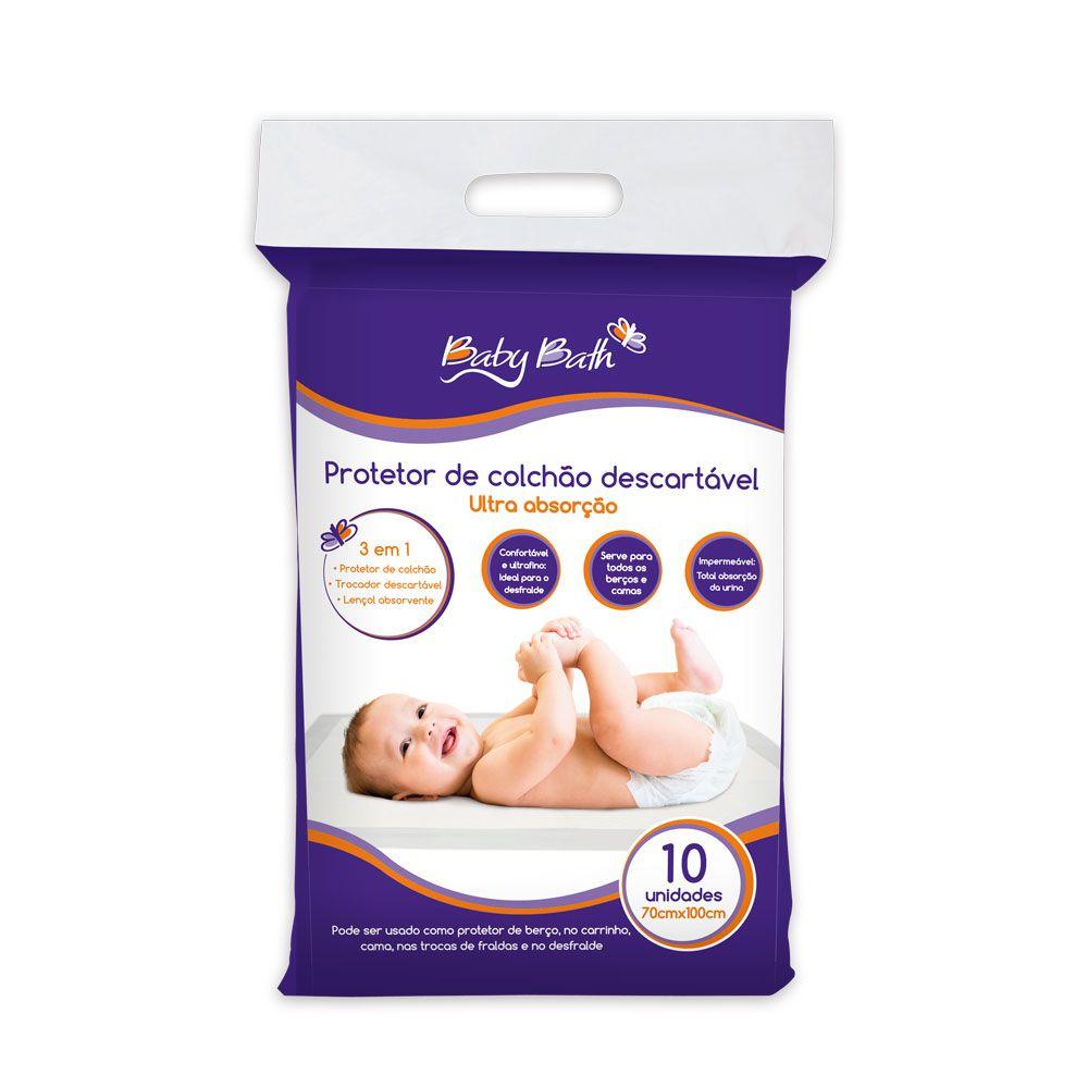 Protetor de Colchão Impermeável Ultra Absorção 10 Unidades - Baby Bath