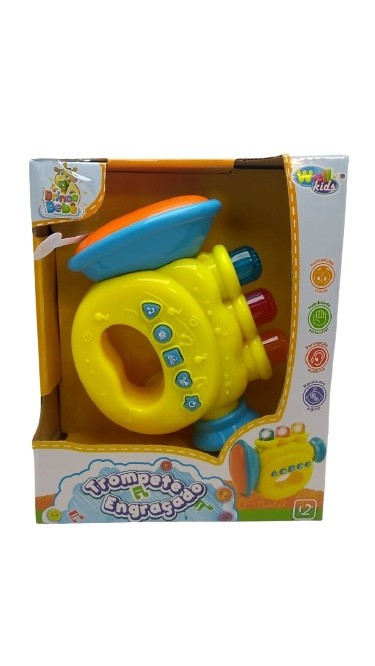 Trompete Musical Infantil Com Sons e Luzes Amarelo - Well Kids