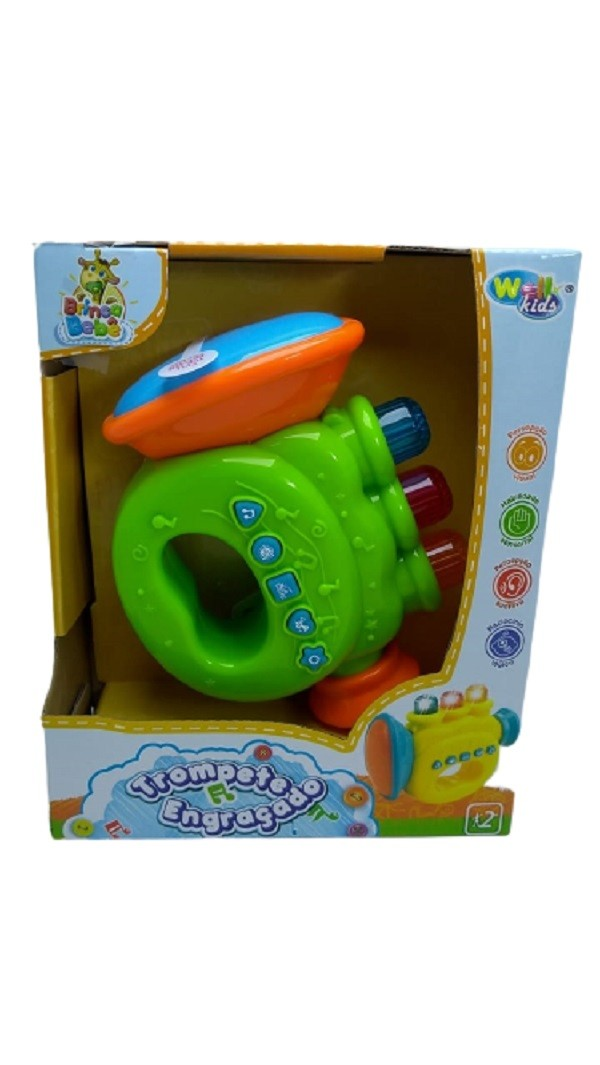 Trompete Musical Infantil Com Sons e Luzes Verde - Well Kids