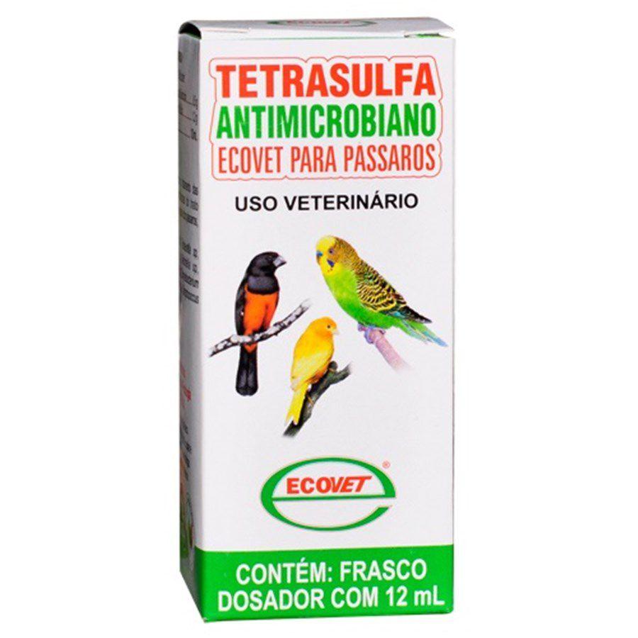 Tetrasulfa - Antimicrobiano 12ml - excelente para trato respiratório e digestivo das aves