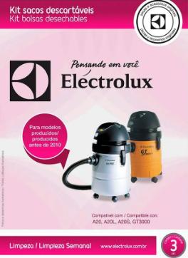 SACO DESCARTÁVEL  ELECTROLUX A20,A20L,A20S,GT300 PARA MODELOS PRODUZIDOS ANTES DE 2010