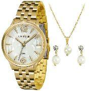 Kit Relógio Feminino Lince Lrgh047l Kt90