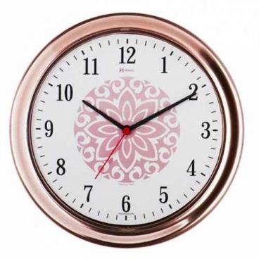 Relógio De Parede Analógico Moderno Rosê Gold Mecanismo Step