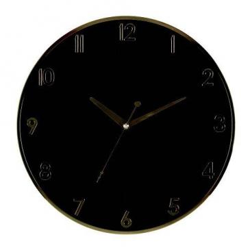 Relógio de Parede Tic-tac Preto Dourado Ouro Herweg 6803