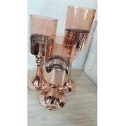 Trio De Taças De Vidro Rose Espelhado - Decoração