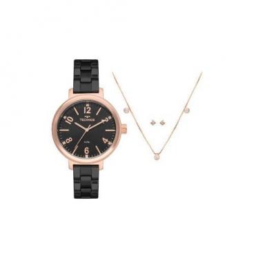 Kit Relógio Technos Feminino Preto E Rosé 2035mmu/k4p