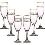 Jogo De Taças para Champagne Borda Dourada Mimo Style 6 Peças