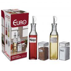 Conjunto de Galheteiro Com Suporte Euro Home 04 peças