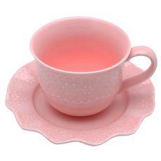 Conjunto de Xícaras de Chá Lyor Princess em Porcelana Rosa 12 peças
