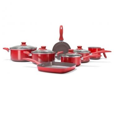 Jogo de Panelas Ceramic Life Smart Plus vermelha 7 pçs Brinox