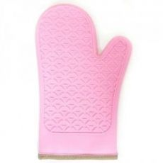 Luva De Silicone Rosa Com Tecido Resistente Até 120 Graus