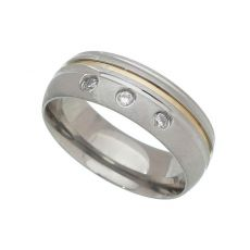 Par de Alianças de Compromisso - Aço Inox 7mm - Com Pedras e Filete de Ouro