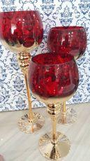 Trio De Taças De Vidro Vermelho e Dourado Decoração