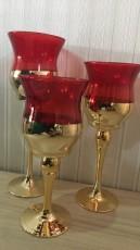 Trio De Taças De Vidro Vermelho e Dourado