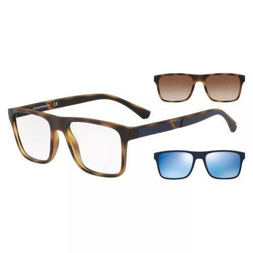 Armação De Óculos Clip On Emporio Armani Ea4115 5089/1w