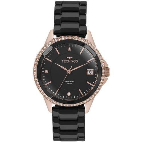 Relógio Technos Rosé E Preto Feminino Ceramic 2315kzr/4p