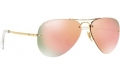 Óculos Solar Ray-ban Rb3449 001/2y 59-14 Aviador Dourado Rosa Espelhado