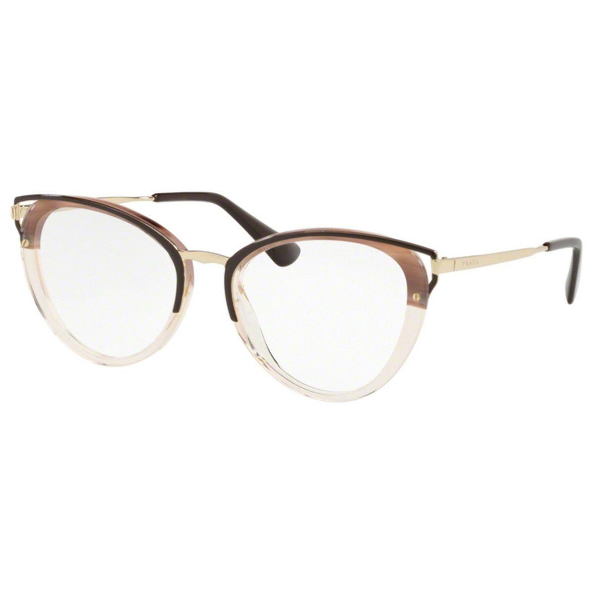 bacf4ed23ec3e Armação Óculos de Grau Feminino Prada VPR53U MRU-101 - Omega Ótica e ...