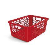 Cesto Organizador M Vermelho Solido De Plástico Uz