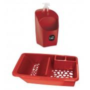 Kit Pia Cozinha Vermelho UZ Escorredor de Louça + Dispenser Porta Detergente